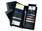 Travelers Document Wallet w Passport-Sized Pockets & Credit Card Slots