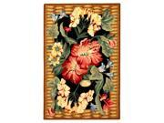 Hand-Hooked Rug with Hibiscus (7 ft. 9 in. x 9 ft. 9 in.)