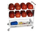 Double Wide Ball Cart w Storage Shelf - 16 Balls