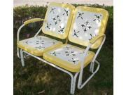 2 Seat Metal Retro Chair Glider in Yellow