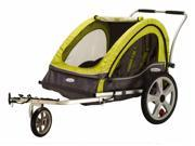 Sierra Double Bicycle Trailer in Green and Gray