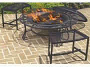 Steel Mesh Table Edge Rim Fire Pit Set & 2 Bench in Black