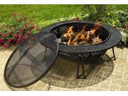 Diamond Mesh Fire Pit w Table Edge & Risers in Black