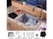 23 in. Single Bowl Kitchen Sink & Faucet w Soap Dispenser