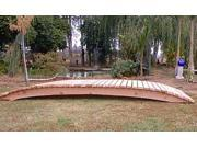 12 ft. Span Garden Bridge Hand Crafted in Solid Redwood 12 ft. No Post Sealed Bridge