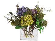 Mixed Hydrangea with Rectangle Vase Silk Flower Arrangement