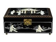 Clementina Jewelry Box in Black Lacquer w Mother of Pearl Design