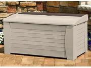 127 Gallon Deck Box w Seat Accessory Storage Tray in Taupe