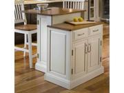 Home Styles Woodbridge WhiteTwo Tier Island & Two Stools - 5010-948