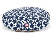 Navy Blue Links Round Pet Bed Small 30 in. L x 30 in. W x 4 in. H 3 lbs.