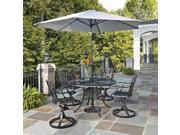 5-Pc Cast Aluminum Patio Dining Set in Charcoal Finish