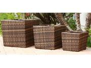 Hampton Outdoor Light Brown Wicker 3-Pc Flowerpot Set