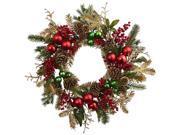 Ornament Pine and Pine Cone Wreath in Multicolor