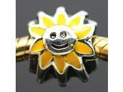 Sunflower Smiley 925 Sterling Silver European Charm Bead fit Pandora Snake Bracelet/Necklace Chain
