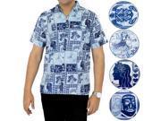 La Leela Soft COTTON Short Sleeve Hawaii Men Aloha Beachwear Shirt Navy XL 9SIA2NF40R5466
