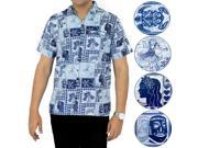 La Leela Soft COTTON Short Sleeve Hawaii Men Aloha Beachwear Shirt Navy M 9SIA2NF40U7045