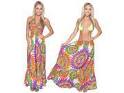 Halter Neck Beach Wear Dress Swimsuit Women Swimwear Cover Up Maxi Multi LARGE 9SIA2NF5110947
