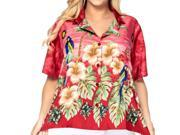 La Leela Smooth Likre Hibiscus Cruise Beachwear Casual Blouse Women Shirt Red M