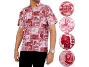 La Leela Beach Hawaii Men Aloha Girl Hula Soft COTTON Shirt Sleeve Red XL
