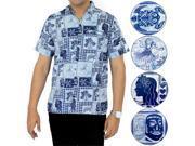 La Leela Soft COTTON Short Sleeve Hawaii Men Aloha Beachwear Shirt Navy M 9SIA2NF40U7045