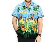 La Leela Blue Casual motorcycle Printed Beach Camp Hawaiian Shirt Camp Men's S 9SIA2NF34B3159