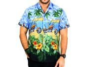 La Leela Likre Royal Blue motorcycle Printed Beach Hawaiian Shirt Camp Men's XL 9SIA2NF0X50457