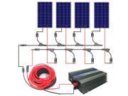 USA Stock 400W grid tie solar system 4*100W PV Solar Panel 300W inverter RV charge battery