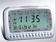 SMART Islamic Digital Azan Alarm Clock Al-Harameen Islamic clock Muslim Complete AZAN Clock Hiijri Calendars (silver)