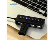 14324TW Acasis 4-Port USB 2.0 Hub Splitter with Individual Power Switches High Speed 5Gpbs For PC Laptop Camera DV Hard Drive