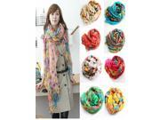 Autumn Countryside Colorful Flowers Pattern Cotton Voile Lady's Large Scarf Shawl Neckerchief