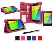 roocase Google Nexus 7 2013 Case Bundle - Slim Fit Folio Stand Smart Cover (Supports Auto Sleep/Wake) with Ultra HD Clear Screen Protector for Nexus 7 FHD 2nd Gen, Magenta