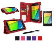 roocase Google Nexus 7 2013 Case Bundle - Dual Station Folio Stand Smart Cover (Supports Auto Sleep/Wake) with Ultra HD Clear Screen Protector for Nexus 7 FHD 2nd Gen, Red