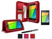 roocase Google Nexus 7 2013 Bundle - Executive Portfolio Leather Case Cover (Supports Auto Sleep/Wake) with Ultra HD Clear Screen Protector for Nexus 7 FHD 2nd Gen, Red