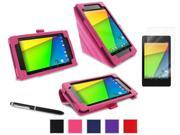 roocase Google Nexus 7 2013 Bundle - Origami Folio Case Cover (Supports Auto Sleep/Wake) with Ultra HD Clear Screen Protector for Nexus 7 FHD 2nd Gen, Magenta