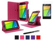 roocase Google Nexus 7 2013 Bundle - Dual View Stand Cover Case (Supports Auto Sleep/Wake) with Ultra HD Clear Screen Protector for Nexus 7 FHD 2nd Gen, Magenta