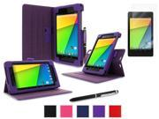 roocase Google Nexus 7 2013 Bundle - Dual View Stand Cover Case (Supports Auto Sleep/Wake) with Ultra HD Clear Screen Protector for Nexus 7 FHD 2nd Gen, Purple