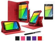 roocase Google Nexus 7 2013 Bundle - Dual View Stand Cover Case (Supports Auto Sleep/Wake) with Ultra HD Clear Screen Protector for Nexus 7 FHD 2nd Gen, Red