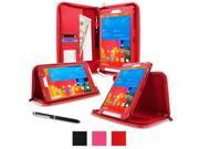 rooCASE Samsung Galaxy Tab Pro 8.4 Case Executive Portfolio Leather 8.4 Inch 8.4 Cover with Landscape Portrait Typing Stand Hand Strap Red With Auto Wa
