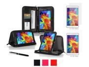 rooCASE Samsung Galaxy Tab 4 7.0 SM-T230 Case - Executive Portfolio Leather Cover with 4-Pack (2 Anti-Glare Matte & 2 HD Clear) Screen Protectors for Galaxy Tab 4 7 inch, Black