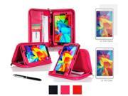 rooCASE Samsung Galaxy Tab 4 7.0 SM-T230 Case - Executive Portfolio Leather Cover with 4-Pack (2 Anti-Glare Matte & 2 HD Clear) Screen Protectors for Galaxy Tab 4 7 inch, Magenta