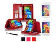 rooCASE Samsung Galaxy Tab 4 7.0 SM-T230 Case - Executive Portfolio Leather Cover with 4-Pack (2 Anti-Glare Matte & 2 HD Clear) Screen Protectors for Galaxy Tab 4 7 inch, Red