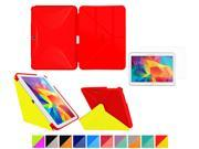 Galaxy Tab 4 10.1 Case roocase Origami 3D Slim Shell Case [Testarossa Red Tagerine Yellow] Smart Cover Bundle with HD Clear Screen Guard for Samsung Galaxy Ta