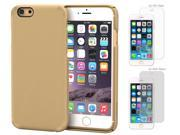 iPhone 6 Case Bundle (Case + Screen Protectors), roocase iPhone 6 4.7 JAKKIT BASIX Series Ultra Slim Lightweight Cover with 4-Pack Screen Protector for Apple iPhone 6 4.7-inch, Matte Champagne Gold