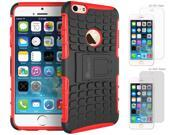 iPhone 6 Case Bundle (Case + Screen Protectors), roocase iPhone 6 4.7 BLOK Armor Hybrid Dual Layer Rugged Case Cover with Kickstand with 4-Pack Screen Protector for Apple iPhone 6 4.7-inch, Red