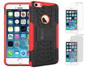 iPhone 6 Case Bundle (Case + Screen Protectors), roocase iPhone 6 4.7 TRAC Armor Hybrid Dual Layer Rugged Case Cover with Kickstand with 4-Pack Screen Protector for Apple iPhone 6 4.7-inch, Red