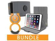 roocase iPad Mini Orb Bundle, Folio Case Cover Stand for Apple iPad Mini 4 / Mini 3 2 1 with Orb Loop and Strap - Rotating and Detachable iPad Mini 4 / Mini 3 2 1 Tablet Shell Case, Canvas Gray
