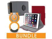 roocase iPad Mini Orb Bundle, Folio Case Cover Stand for Apple iPad Mini 4 / Mini 3 2 1 with Orb Loop and Strap - Rotating and Detachable iPad Mini 4 / Mini 3 2 1 Tablet Shell Case, Red