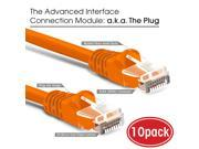 GearIt 10-Pack, Cat5e Cat 5 Ethernet Patch Cable 10 Feet - Snagless RJ45 Computer LAN Network Cord, Orange - Compatible with 10 Port Switch POE 10port Gigabit