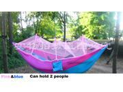 Parachute Hammock with mosquito net for 2 persons 51'' Double Wide Solid Outdoor living garden Patio Yard Camping hammock pink & blue