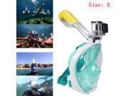 2016 Anti fog Swimming Full Face Mask Diving Snorkel Scuba Camera Mount For GoPro Swim Green